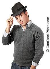 porter, jeune, isolé, noir, hat., homme, beau