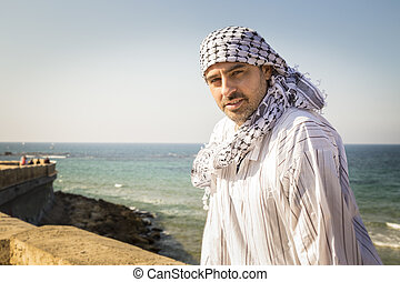 porter, keffiyeh, allocation places, arabe, plage, homme