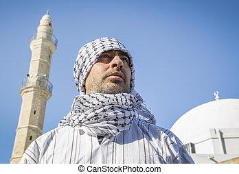 porter, keffiyeh, mosquée, arabe, au-dessous, homme