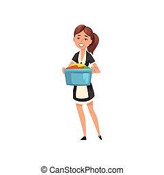 porter, lin, service, classique, propre, caractère, illustration, uniforme, bonne, vecteur, noir, nettoyage, tenue, bonne, tablier, sourire, bassin, robe, blanc