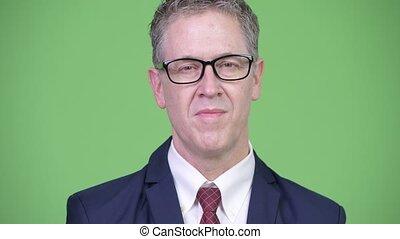 porter lunettes, coup, studio, mûrir, homme affaires