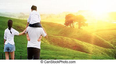 porter, mère, épaules., sien, père, fils