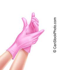 porter, main, réaliste, vecteur, gants, infirmière, stérile