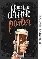 porter., main, verre, bière, tenue, mâle