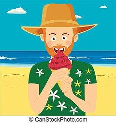 porter, manger, paille, plage, jeune, glace, exotique, hipster, crème, chapeau, homme
