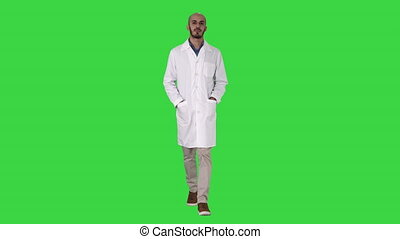 porter, marche, sien, docteur, chroma, uniforme, arabe, vert, key., poches, mains, écran, beau