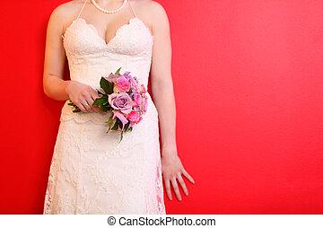 porter, mariée, bouquet, long, roses, fond, mains, blanc, prise, robe, rouges