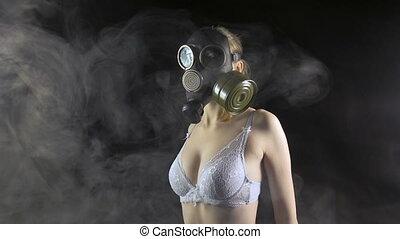porter, masque gaz, lingerie, girl, blanc
