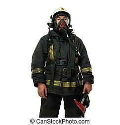 porter, masque oxygène, pompier, isolé, hache, blanc