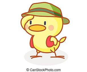 porter, mignon, chapeau, poussin, dessin animé