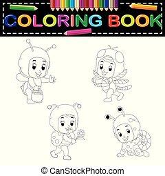 porter, mignon, gosses, dessin animé, livre, déguisement, animal, coloration