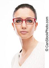 porter, mode, jeune, femme, modèle, lunettes