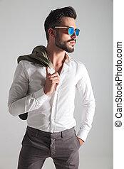 porter, mode, lunettes soleil, jeune, portrait, vue, côté, homme