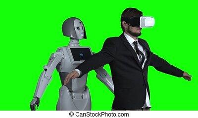 porter, mouvement, lent, autour de, après, robot, réalité virtuelle, him., vert, screen., récupérations directes, répétitions, lunettes, homme