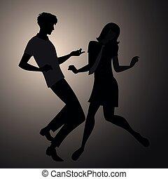 porter, nous, danse, couple, style, 1960s, silhouettes, ...