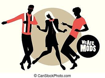 porter, nous, danse, deux, 1960s, silhouettes, style, retro...