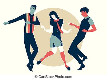 porter, nous, nord, danse, jeune, 1960s, âme, style, retro, ...