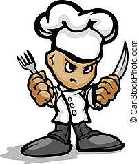porter, ou, tenue, restaurant, chefs, cuisine, figure, chef cuistot, vecteur, image, cuisinier, dessin animé, déterminé, chapeau, utinsils, mascotte