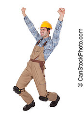 porter, ouvrier, chapeau dur, excité