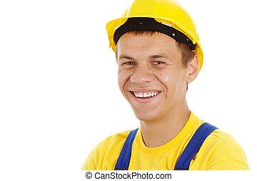porter, ouvrier, chapeau dur, heureux