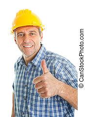 porter, ouvrier, chapeau dur