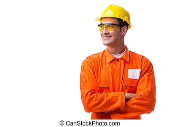 porter, ouvrier dur, isolé, construction, chapeau blanc