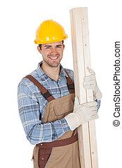 porter, ouvrier dur, tenue, chapeau, bois construction