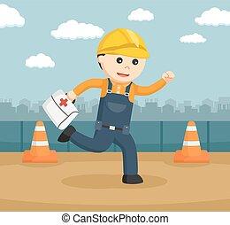 porter, ouvrier, kit, courant, construction, aide, premier