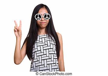 porter, paix, jeune fille, donner, signe, sunglas, quoique, adolescent, asiatique