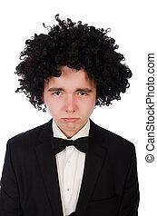 porter, perruque, afro, jeune homme