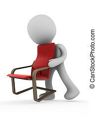 porter, personne, chaise, 3d
