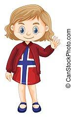 porter, peu, conception, girl, norvège, vêtements