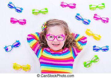 porter, peu, lunettes, girl