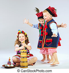 porter, peu, trois, costumes, traditionnel, amis