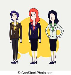 porter, plat, différent, femme, brunette, women., business, set., vecteur, cheveux, élégant, poses., court, conception, caractères, femmes, clothing., cheveux, rouges, linéaire