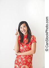 porter, pointage femme, chinois, haut, traditionnel, asiatique, robe