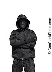 porter, portrait, masque, anonyme, homme