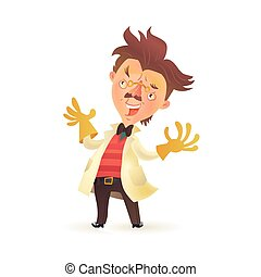 porter, prof, manteau, gants caoutchouc, fou, mains, laboratoire, élévation