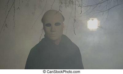 porter, révéler, femme, elle, masque, halloween, figure, appareil photo, noir, cap, blanc, vacances, dissimulation