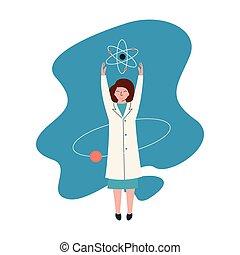 porter, rechercher, concept, scientifique, fonctionnement, manteau, caractère, physicien, illustration, recherche, scientifique, vecteur, atomes, laboratoire, femme, blanc