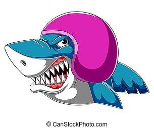 porter, requin, coureur, casque