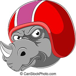 porter, rhinocéros, coureur, casque