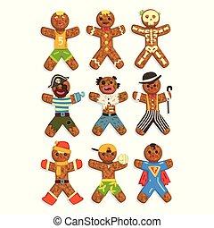 porter, rigolote, différent, caractères, ensemble, ector, hommes, costumes, illustration, fond, pain épice, noël blanc