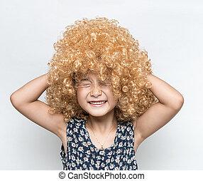 porter, rigolote, perruque, asiatique, facial, blond, expression, girl