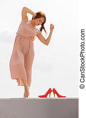 porter, rose, danse femme, lumière, long, robe