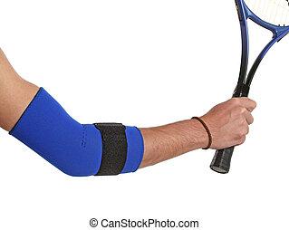 porter, série, joueur tennis, bandage, orthopédique, coude