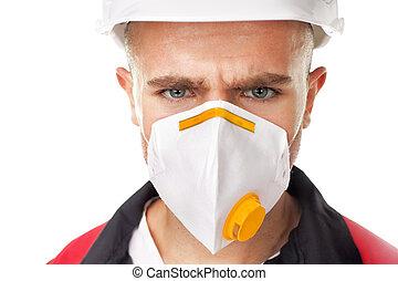 porter, sérieux, ouvrier, respirateur