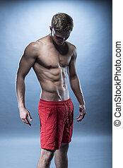 porter, short, fitness, modèle, mâle, rouges