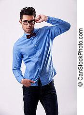 porter, sien, arc, tenue, cravate, modèle, mâle, lunettes