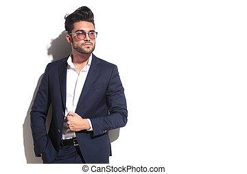 porter, sien, business, lunettes soleil, veste, traction, homme, frais